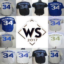 120d455e720 With 2017 WS Patch Mens Womens Kids Los Angeles Fernando Valenzuela Gray  Beige Blue Black White Cool Base Flex Base Baseball Jerseys ...