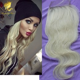 Knotting Hair Styles Canada - #613 new arrival bleached knots 4*4inches size free style unprocessed human hair blonde color lace closure body wave hair