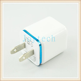 Wall Dual Ac Charger Canada - New design 2.1A&1.0A double USB AC adapter home travel wall charger with dual ports EU US plug 5colors cell phone chargers DHL Free Shipping