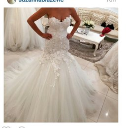 China 2016 Mermaid Lace Wedding Dresses Sweetheart Neckline Lace Appliques Tulle Backless Draped Lace Bridal Dresses Wedding Party Custom Made cheap mermaid trumpet wedding dress sweetheart neckline suppliers