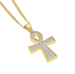 $enCountryForm.capitalKeyWord NZ - Iced Sand Blast Pendant Gold Silver Color Egyptian Key of Life Ankh Cross Pendant Necklace Men's Hip hop Jewelry