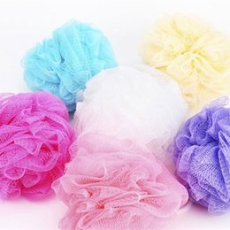 shower mesh balls UK - High Quality Mesh Pouf Sponge Bathing Spa Shower Scrubber Ball Colorful Bath Brushes Sponges fast shipping