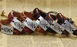 Discount halloween music - superior fish jesus Handmade Truth Braided Leather Bracelet Designs mens bracelets jewelry for women