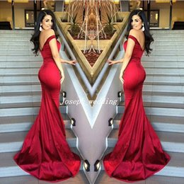 Robes Rouges Robes De Soirée Pas Cher-Livraison gratuite Sexy Red Mermaid Off Shoulder Sweetheart Neckline Robes de soirée Satin Backless Stunning 2017 Prom Gown WL358