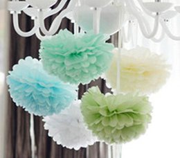 Inch Pom Balls NZ - Free Shipping 10pcs 25cm(10 inch) tissue paper pom poms paper flowers ball for wedding decoration house birthday parties