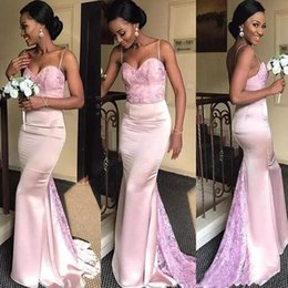 $enCountryForm.capitalKeyWord NZ - 2018 Nigerian Lace Styles Mermaid Bridesmaid Dresses Long Spaghetti Corset Pink Satin African Plus Size Maid Of Honor Wedding Guest Dress