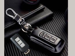 Leather Key Fob Case Canada - Genuine Leather Key fob Cover for Mitsubishi Outlander ASX RVR Mirage Montero Sport Smart Remote Key Case Holder Accessories