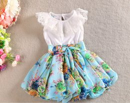 Dentelle En Mousseline De Soie Corée Pas Cher-2015 Summer New Girls Vêtements Robe Corée Chiffon Fleur Skirt Lace Flower Vest Dress Sans manches TuTu Style Princess Dressy 3 Couleur A0060