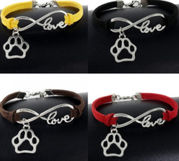 vintage cat charm bracelet Canada - Vintage Silver LOVE Infinity Charms Cat Dog Paw Prints Bracelet Bangle For Women Mixed color Velvet Rope Bracelets Jewelry Gifts 20pcs