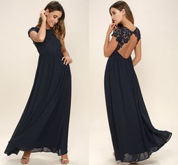 Vestidos Largos Estilo Occidental Baratos-2018 Western Country Style Dark Navy gasa vestidos de dama de honor de manga larga sin respaldo corto de encaje Top Beach Wedding Party Dresses barato