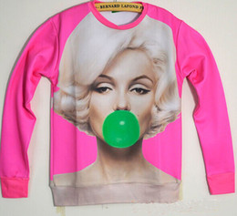 Maillot Taille Marilyn Monroe Pas Cher-Printemps / Automne rose femmes vêtements pulls marilyn monroe impression 3d sweat-shirt sexy fille mode 3d hoodies sweatshirt plus taille