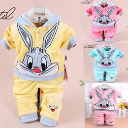 Cartoon Rabbit Hoodies Canada - Wholesale- Retail Baby Girl Cute little rabbit Clothing Sets Kids Velvet Suits Infant Tracksuits Sports Sets Outwear Cartoon Hoodies Suit