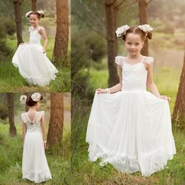 Hot Sales Ivory Long Flower Girl Dresses With Lace Straps Crystals Kids Wedding Dress Bohemia Style Teens Girls Pageant Gown