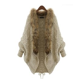Barato Luva Batwing Poncho De Lã-2015 Inverno Open Cardigan Poncho Capes Puxe Femme Outono Outwear Tricot Mulheres Malha Camisola De Lã Batwing Manga Shrug