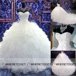 Superbe Robe De Mariée De La Cathédrale Sweetheart Pas Cher-Cathédrale magnifique princesse Eglise train robe boule sweetheart mariage Robes Ruffles Perles Corset Robes de mariée 2016 Custom Made