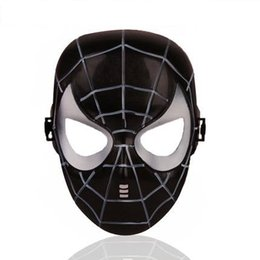 $enCountryForm.capitalKeyWord UK - 1 piece Halloween Hoilday Cosplay Mask black color Spider Man Mask With Led light Children Festival Luminous mask for Masquerade Party