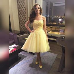 d23689f89 2015 precioso amarillo 8vo grado vestidos de baile hasta la rodilla de  encaje Tulle Juniors vestidos de graduación cortos vestidos de regreso al  hogar más ...