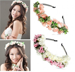 Bandeaux À Bas Prix Accessoires Pour Cheveux Pas Cher-2015 Summer Colorful Beach Wedding Garland Bohemian Headbands Avec Multicolor Flowers Floral Garland Bridal Hair Accessoires pas cher