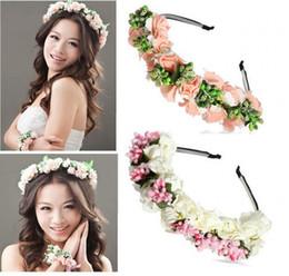 Silk flower bridal hair online shopping - 2018 Summer Colorful Beach Wedding Garland Bohemian Headbands With Multicolor Flowers Floral Garland Bridal Hair Accessories cheap