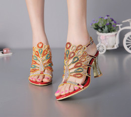 Strappy Open Heels Canada - Women Banquet Prom Party Shoes Summer Rhinestone Sandals Open Toe Chunky Heel Strappy Wedding Shoes for Bride Red Black Color