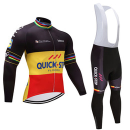 cycling team jersey quick step 2019 - 2019 Winter TEAM Quick step cycling jersey pants set Ropa Ciclismo thermal fleece windproof cycling wear bike clothing s