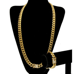 24k gold asian chain necklace 2021 - Stainless Steel 24K Solid Gold Electroplate Casting Clasp W Diamond Cuban Link Necklace & Bracelet For Men Curb Chains Jewelry Set 10mm 14mm