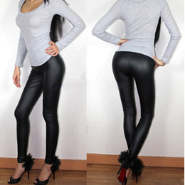 Wholesale Waist Leather NZ - Spring Summer Women Leggings L XL XXL XXXL Full Length High Waist Middle-rise Elastic Flat Leather Pants Plus Size Sexy Leggings