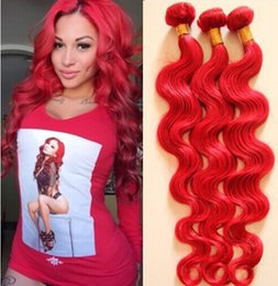 34 inch red hair extensions online 34 inch red hair extensions 8a unprocessed brazilian virgin hair 3pcs lot body wave full bundle red color100 human hair extensions dhl free hot sell pmusecretfo Image collections