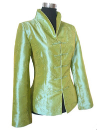 flower jackets ladies 2019 - Wholesale- Free Shipping Fashion Ladies Green Jacket Coat Outerwear Chinese tradition Tang suit Size M L 5XL 6XL 001 che