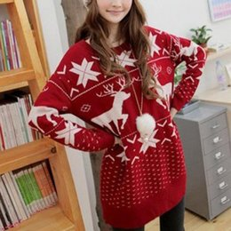 Barato Sweater Crochet Mujer-2017 Winter Women Sweater Natal Padrão de veados vermelhos e maple Snowflake Printed Long Sleeve Casual Crochet Pullover Mujer