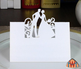 laser cut birthday cards 2018 - 100pcs Laser Cut Hollow Bride and Groom Paper Table Card Number Name Card For Party Wedding Place Card Decorate discount