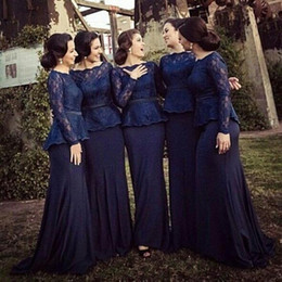 Discount model dress peplum - 2015 Sheath bridesmaid dress long sleeves with Peplum Lace Spandex Sweep Train evening Prom Gowns Wedding Party Dress