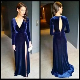 Barato Profundo V Aberto Para Trás-Royal Blue Arabic Dresses Party Evening Velvet Prom Dress Deep V Neck mangas compridas Side Split Plus Size Vestidos formais Sexy Open Back