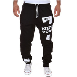 China Wholesale-New Sport Pants Men Casual Joggers New York Printed Trousers Hip Hop Harem Pants Outdoor Sport Sweatpants Tracksuit Mens Joggers cheap new york tracksuit suppliers