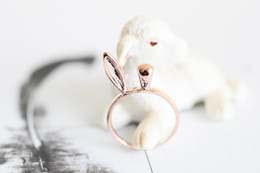 $enCountryForm.capitalKeyWord NZ - Fashion Cute Animal Customize Lord of The Ring 18k Gold Plated Jewelry Cool Bunny Rabbit Ear Knuckle Stacking Ring For Kids