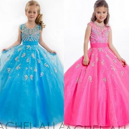 Robes De Princesse Étonnantes Pas Cher-2015 Custom Make Blue Girl Girl Robes de scène Robe de perles superbes Robes de princesse Fleur Fille