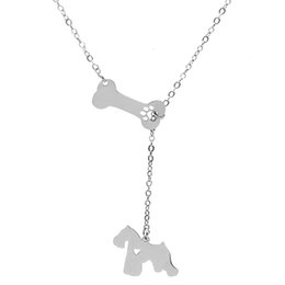 schnauzer gifts 2019 - Schnauzer Pendant Necklace Pet Dog Bone Hollow Paw Claw Stainless Steel Choker Necklaces Women Charm Jewelry Wholesale c
