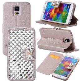 $enCountryForm.capitalKeyWord NZ - Handmade Luxury Bling PU Leather Case Wallet Case Magnaet Flip Cover With Card Holder For Samsung S5 i9600 , Free Shipping