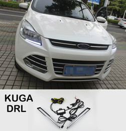 Running light foR foRd online shopping - 2xWith Yellow Turning Function Chromed ABS Cover V Car DRL LED Daytime Running Light For Ford Kuga Escape