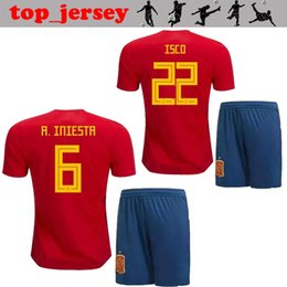 252ccdbb7ae 2018 World Cup Spain kids kits soccer jersey thai quality A.INIESTA home  away ASENSIO ISCO MORATA PIQUE RAMOS SILVA children Football shirt