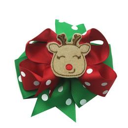 """girls school hair accessories 2019 - 5 """"Christmas Dot Ribbon Bow Hair Bows Hairpins School Hairclips Children Headwear Fashion Hairpins Girls Gift cheap"""