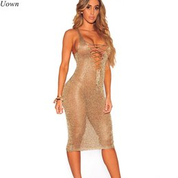 Los Vestidos Clubwear Atractivos Venden Al Por Mayor Baratos-Al por mayor-Sexy Lace Up Túnica Gold Crochet Beach Dress Mujeres Ahueca hacia fuera sin mangas de cuello en V profundo Tank Midi Summer Dresses Clubwear Sundress
