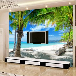 Perfect Wholesale  Custom Beach Coconut Grove Wall Mural Wallpaper Modern Living  Room Sofa TV Background Home Decoration Wallpaper Papel De Parede Beach Wall  Murals ... Part 28
