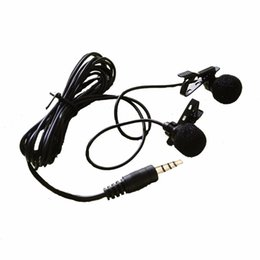 Free Mini Laptops UK - Double Clip-on Lapel Lavalier Microphone 3.5mm Jack Hands-free Mini Wired Condenser Microphone for Smartphones PC Laptop