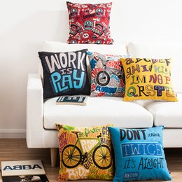 $enCountryForm.capitalKeyWord Canada - American POP Street Graffiti Bike Bicycle English Letters Art Cushion Cover Decorative Cushions Pillows Covers Linen Cotton Pillow Case