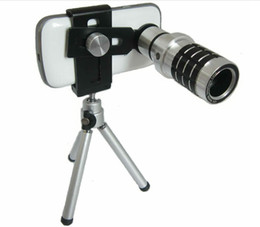 Iphone Telescope 12x Canada - Universal 12x Optical Zoom Telescopes Camera Lens + Cell Phone Tripod Holder For Mobile Phone Samsung S4 S5 Note 3 Note 4 iPhone 5 5S 6 Etc