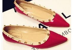 $enCountryForm.capitalKeyWord NZ - 2016 European spring new rivet point flat heel Xieping single shallow mouth of Liu Ding pointed shoes