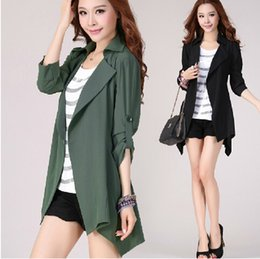 Suit Trench Canada - fashion suit collar irregular long sleeve women's trench Coats plus size oversized 5xl spring autumn cardigan dust coat outwear tops