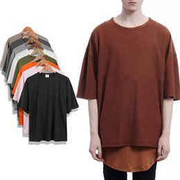 Discount new hip hop streetwear tees - New Style Kanye West T-shirt Men 100% Cotton Oversized Casual Shirt Short Sleeve Hip Hop Tee Men Women Streetwear Plain