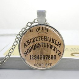 Ouija bOards online shopping - Ouija Board Necklace Ouija Board Spirit Board Goth Style Halloween Glass Tile Necklace Pendant Goth Necklace I46